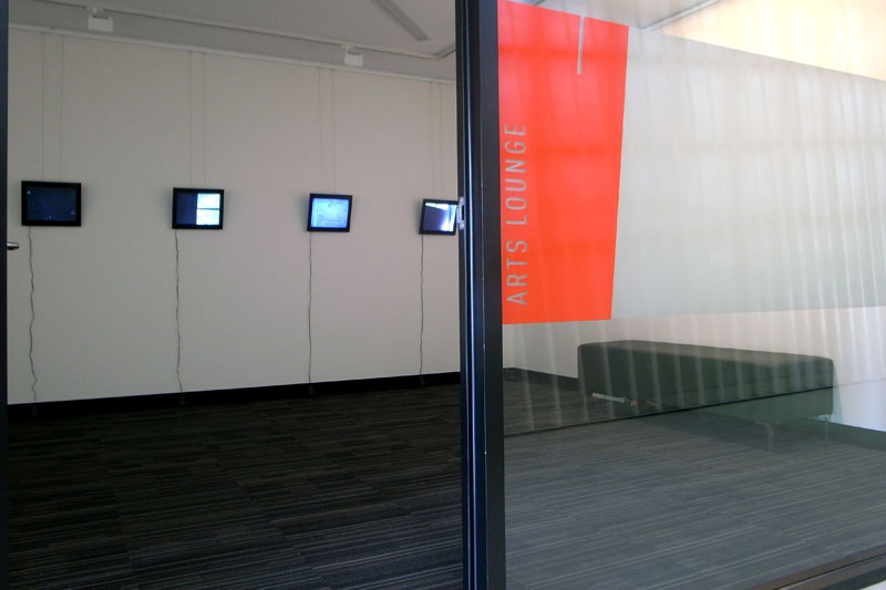 Installation view from outside the Arts Lounge